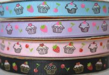 10mm CUPCAKES, STRAWBERRY and CHERRY GROSGRAIN RIBBONS